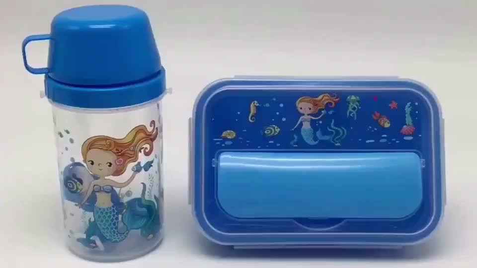 Portable, eco-friendly lunch box with water bottle for kids