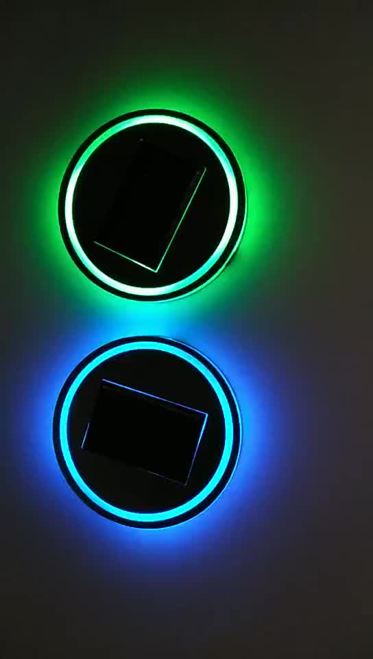 RGB  glowing led cup pad  Anti-slip Waterproof car interior use battery and cover solar charge OEM logo