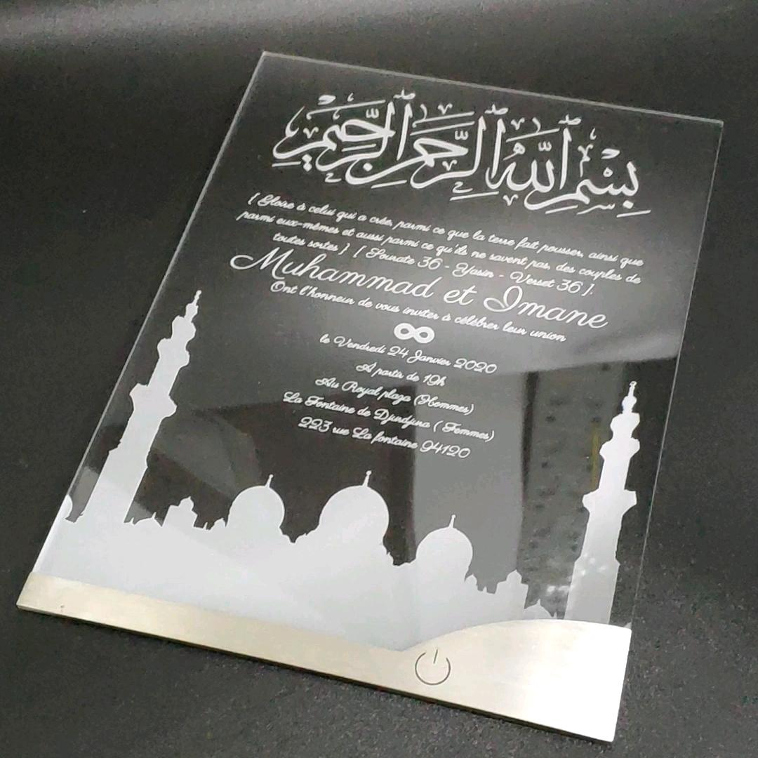 LED อะคริลิคการ์ดเชิญและซองจดหมายออกแบบที่กำหนดเองแต่งงานการ์ดเชิญ