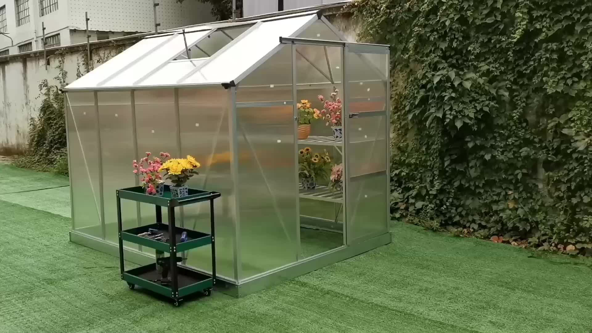 Outdoor Polycarbonate Aluminium Frame Small Garden Greenhouse for Flower and Seed HX65213