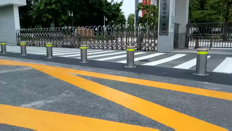 Stainless steel hydraulic lalu lintas jalan fleksibel rising bollard untuk sekolah