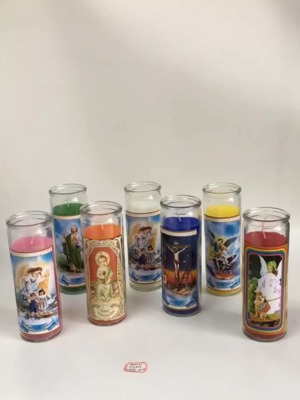 """Barato católica de vidrio religiosa vela 8 """"velas"""