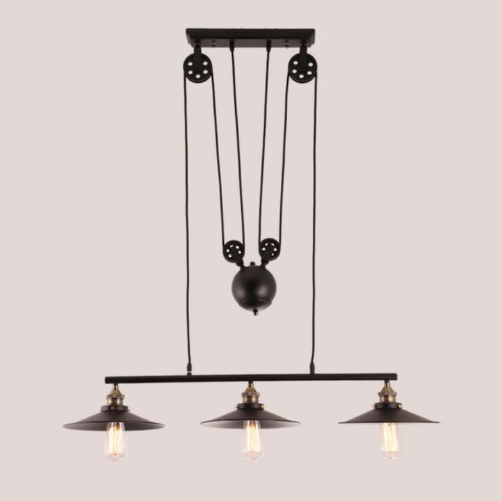 Artistic Pendant Light with 3 Lights in Pulley Block Design Morden Simple Home Ceiling Light Fixture STB-303
