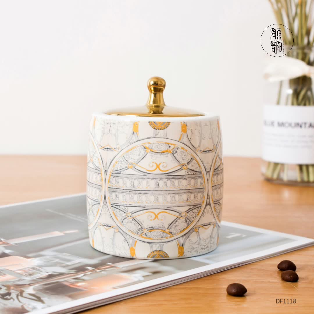Wholesale China supplier factory custom mini porcelain cream oil canister coffee bean sugar ceramic jar with lid