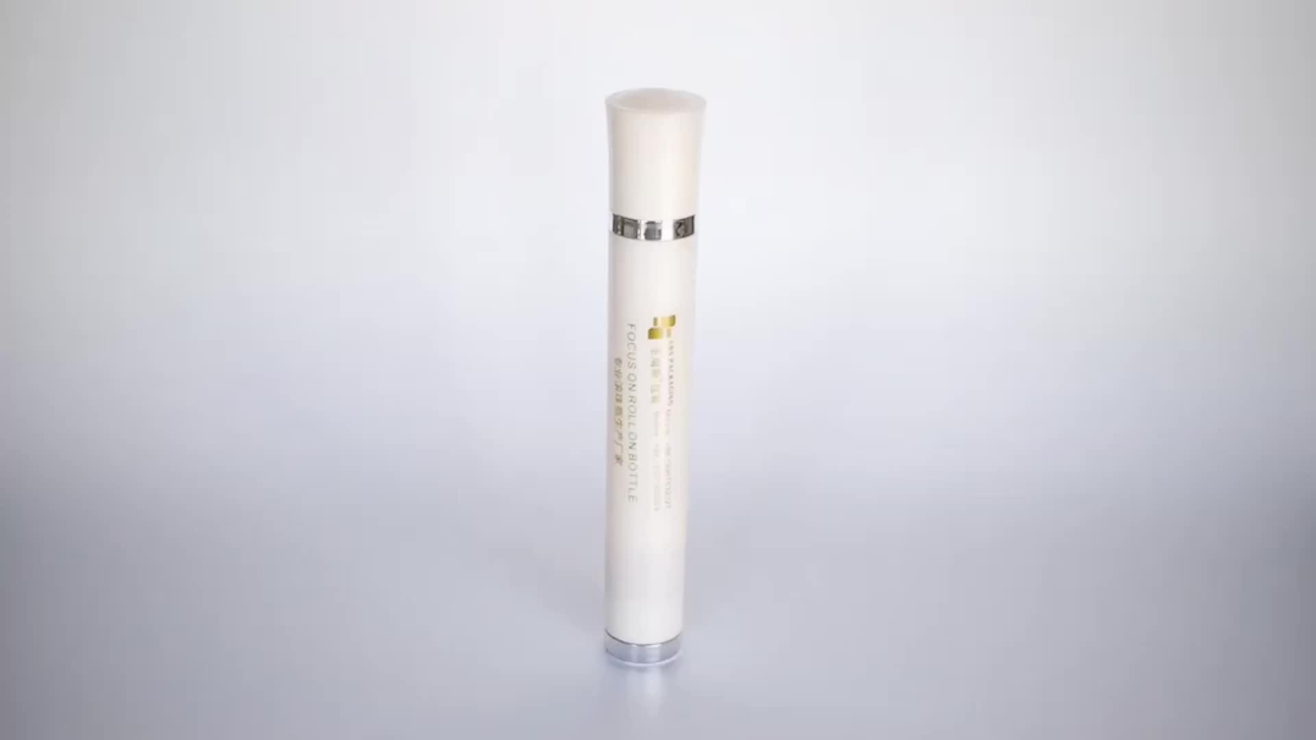 Wholesale Pearl white &shiny gold 10ml plastic vibrating roll on bottle for serum massage Household beauty instrument