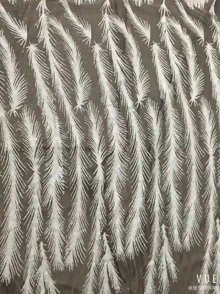 Comfortable And Soft Sequin Feather Shape Lace Fabric