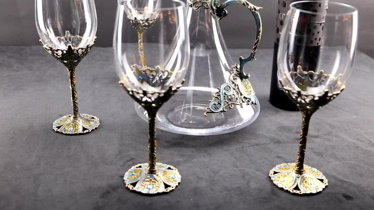 Trung quốc Văn Hóa Món Quà Hoàng Đạo 12 Động Vật Có Hình Dạng Stemless Thống Pha Lê Rượu Rượu Vang Decanter Thủy Tinh Đặt