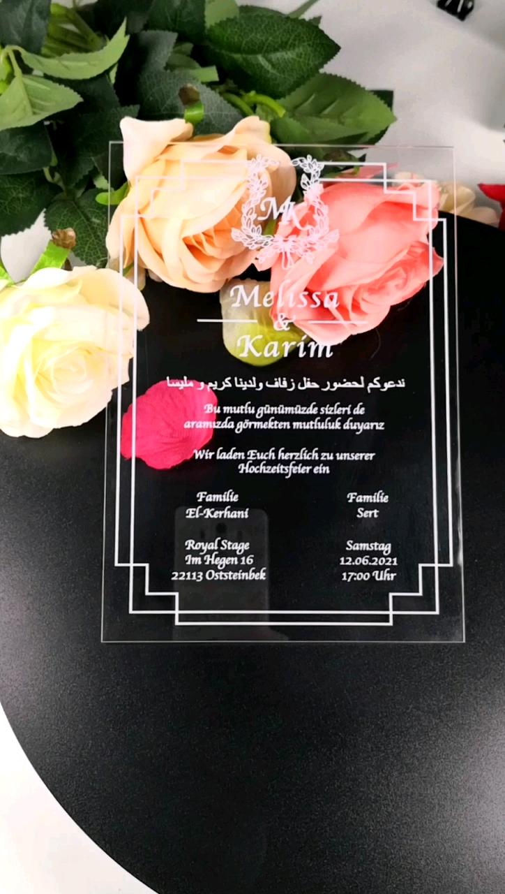 2019 शीर्ष ग्रेड लक्जरी कस्टम उच्च गुणवत्ता एक्रिलिक शादी के निमंत्रण