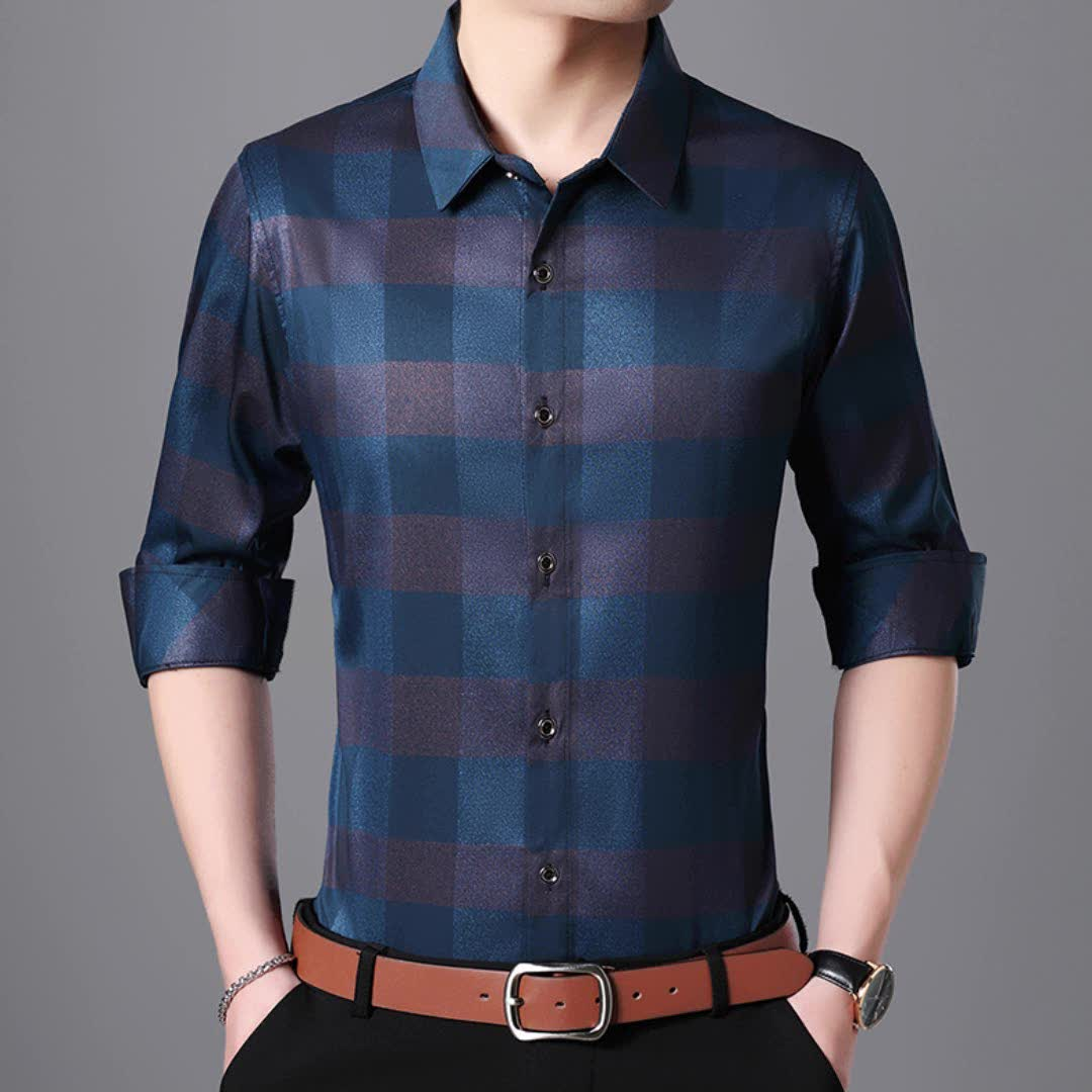 Hot sale england grid plus size loose man casual style man blouse shirt