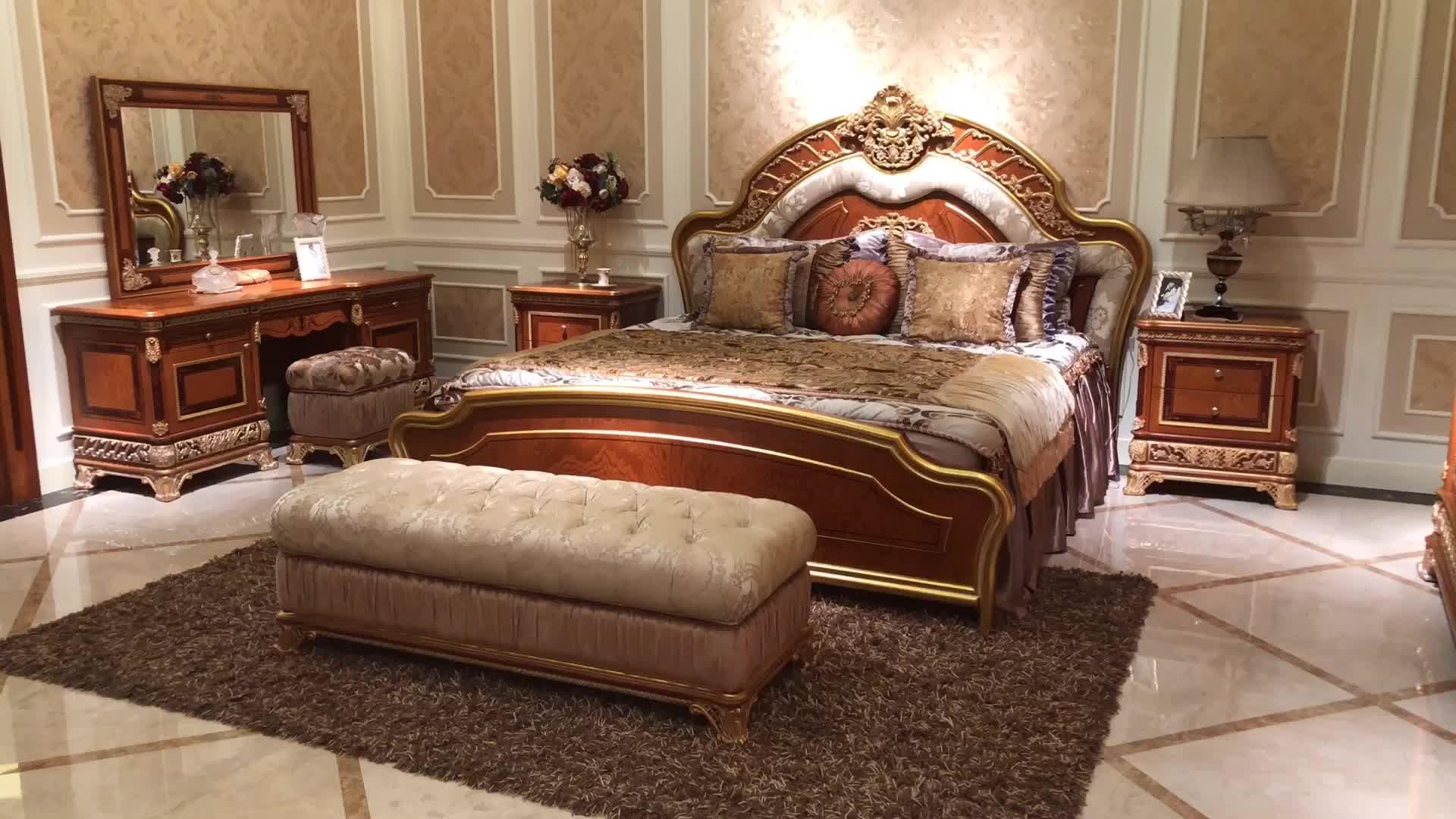 Hout Slaapkamer Meubels : Antieke luxe italiaanse klassieke massief hout slaapkamer meubels