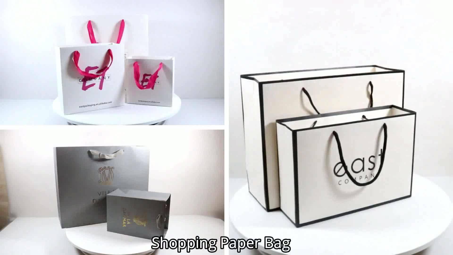 Yüksek kalite Moda özel kağıt Takı Ambalaj çanta Lamine kuşe kağıt torba Beyaz Şirket Logo Baskı Ile
