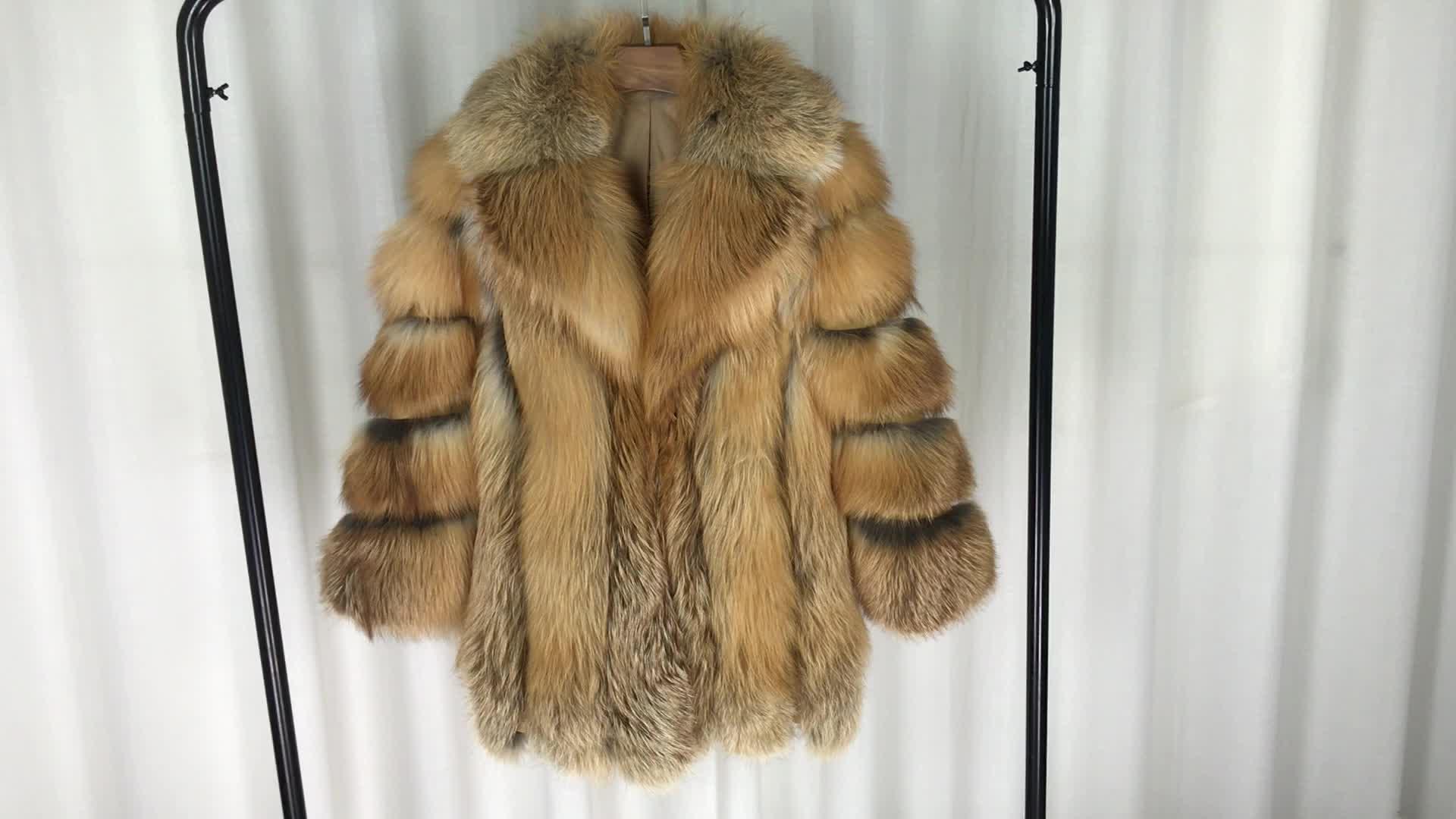 Women winter overcoat whole skin real fox fur long natural fox fur coat