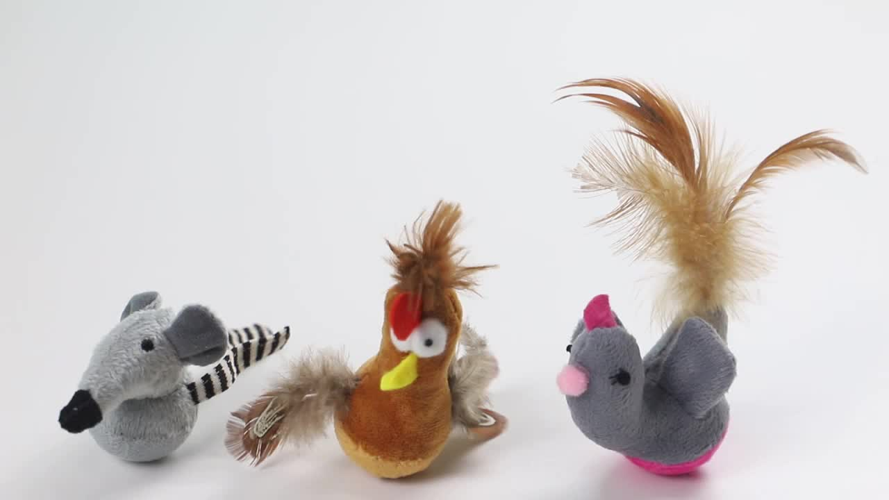 in stock three style plush  tembler cat toy mouse with feather and catnip