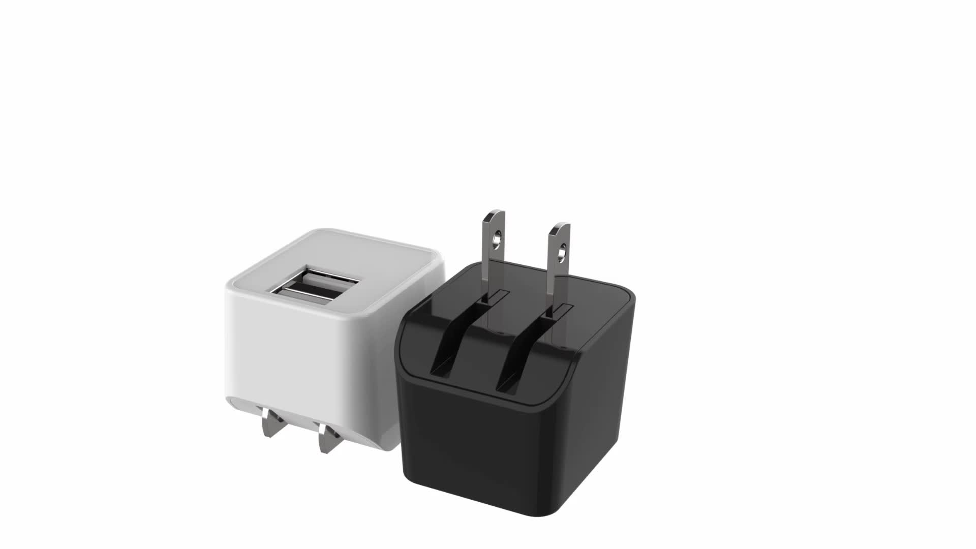 High Quality OEM  ETL 5V 2.4A 12W 2 Port mobile phone Mini USB wall charger foldable us plug