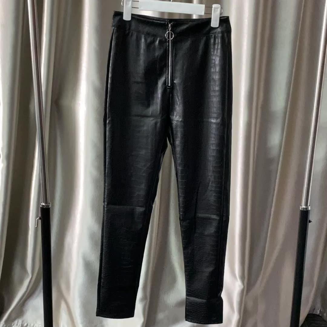 Pantalones informales de cuero PU de cintura alta con cremalleras, Pantalón pitillo, ropa para mujer
