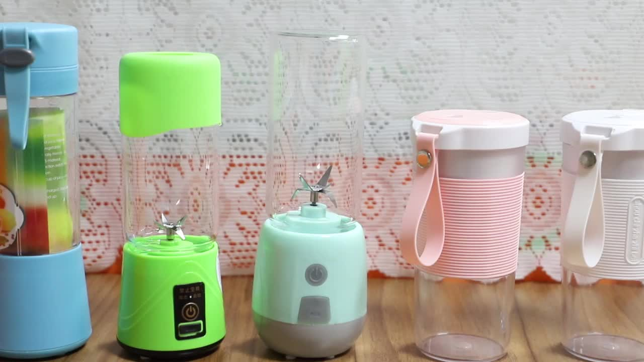 Popular Customized Portable Electric Usb Rechargeable 380ml 4 Leaf Knife Travel Juicer