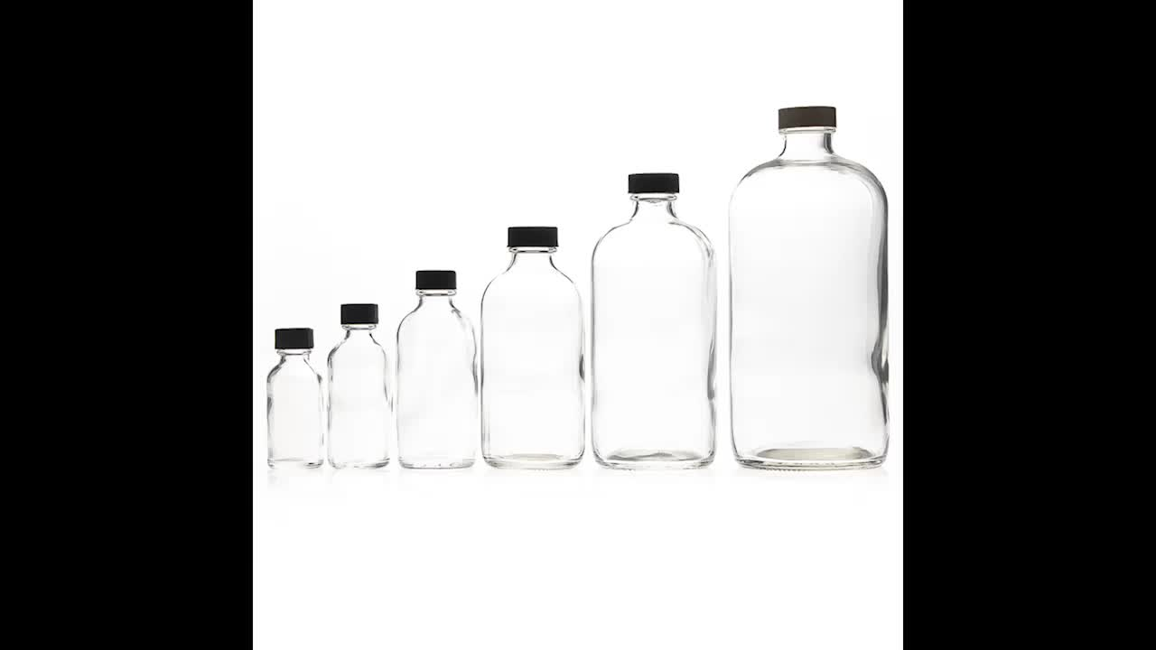 Pharmaceutical Container 1000 ml Empty Medicine Reagent Bottles 34oz Clear Glass Boston Round Bottle Wholesale
