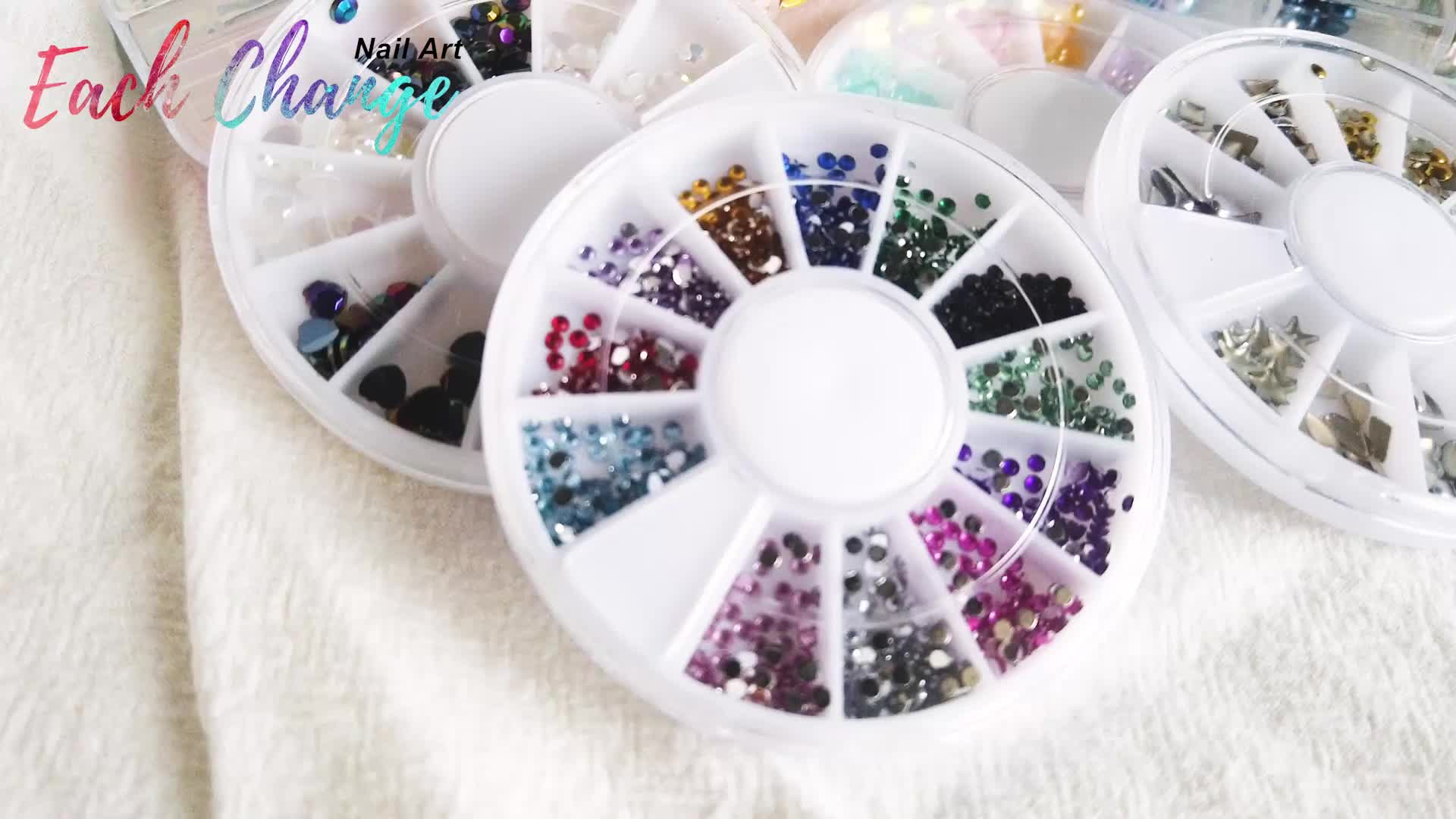 Manicure hollow alloy nail ornaments hollow metal rivet nail patch crystal diamond