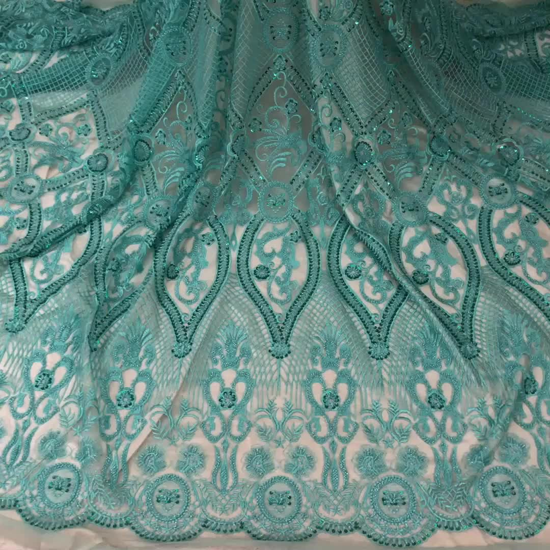 High Quality Netting Full Beaded Teal Blue Korea Peach Green Lace Fabric