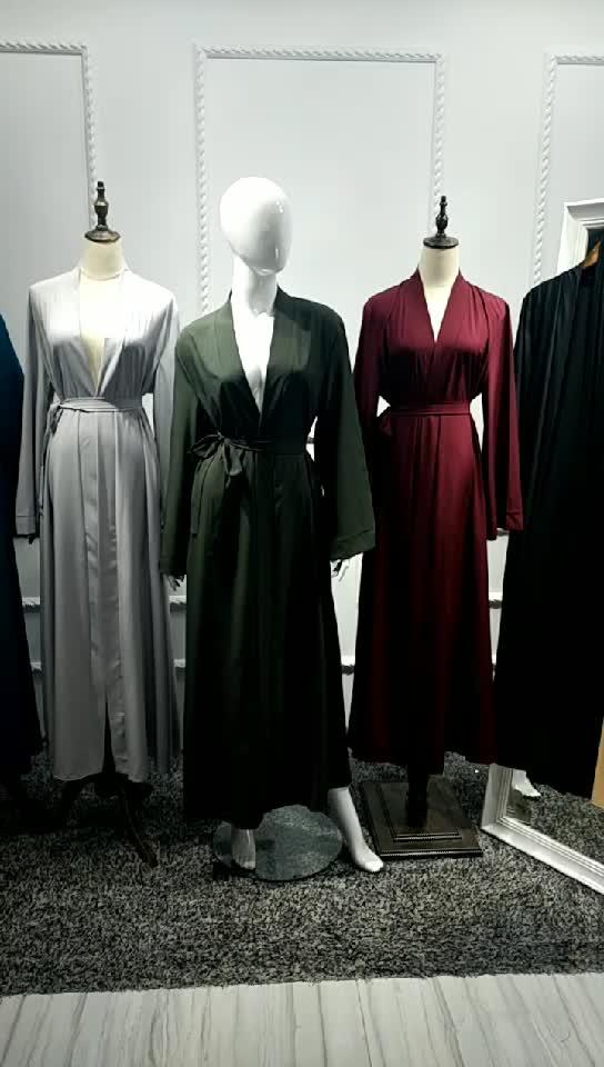2019 neueste Mode Lange Strickjacke Plain Dubai Open Abaya Für Islamische Frauen