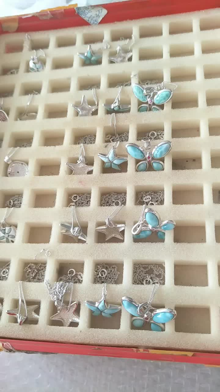 925 Sterling Silver Sea Fish Natural Blue Larimar Dangle dolphin Earring