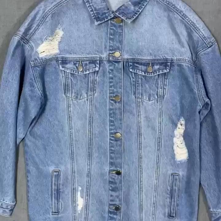 Yüksek kaliteli Jean ceket Vintage mavi yıkanmış yıkılmış kadınlar uzun Denim ceket