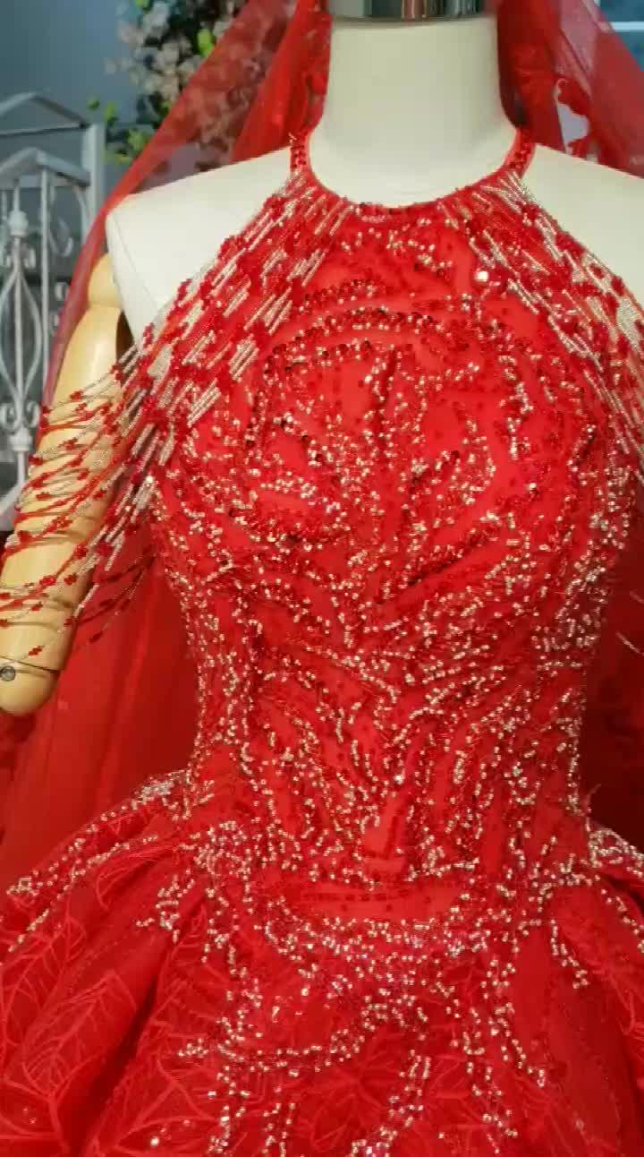 HTL884 rojo cuello halter vestidos de boda elegante vestido rojo largo tren vestidos de novia Mujer