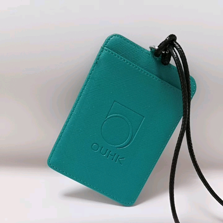 Custom vegan leather clear window id print card holder with D ring