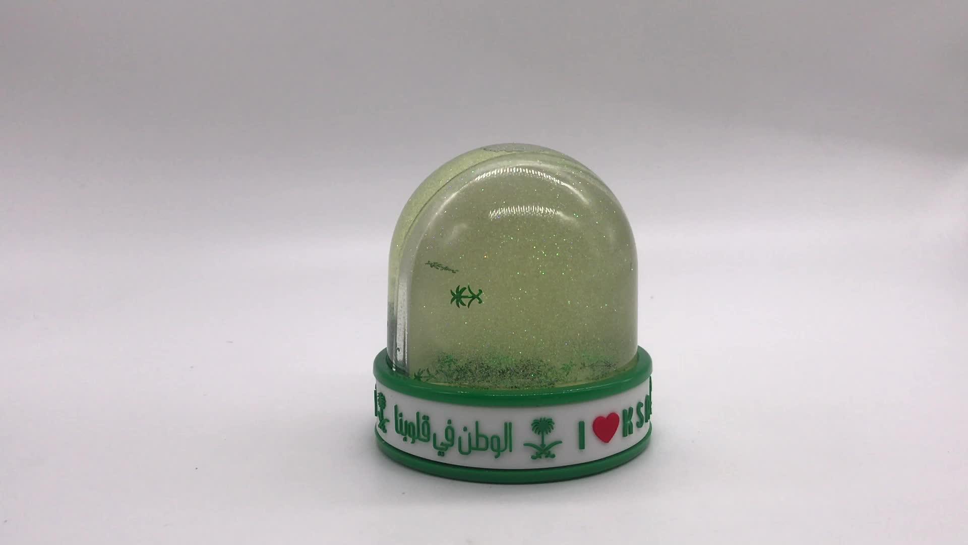 Custom Color Glitter Base Clear Acrylic Dome Diy Acrylic Photo Insert Water Globe Plastic Empty Snow Globe