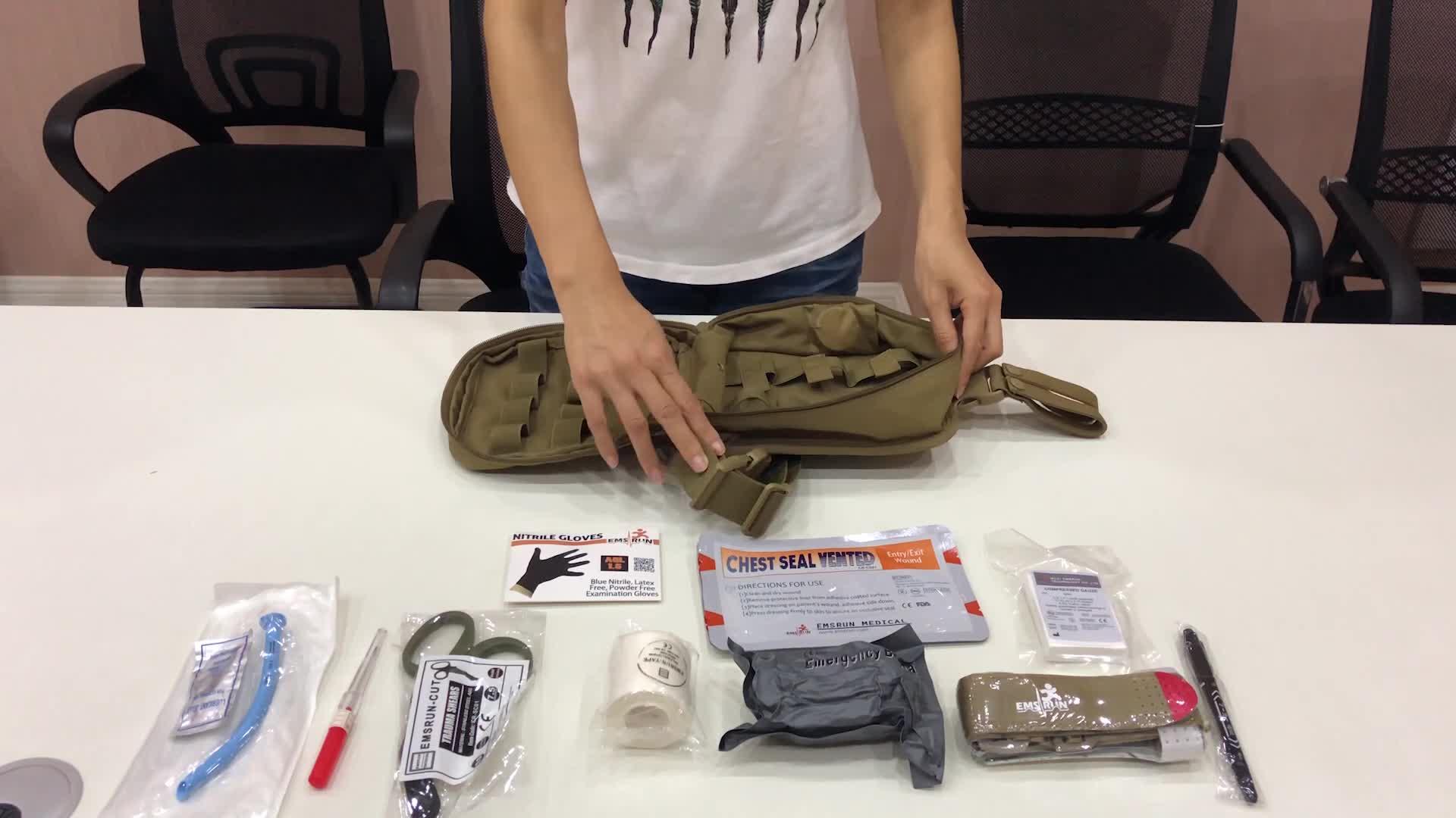 Kit de botiquín de primeros auxilios táctico militar, bolsa para traumatismos al aire libre multiusos, nuevo producto a bordo