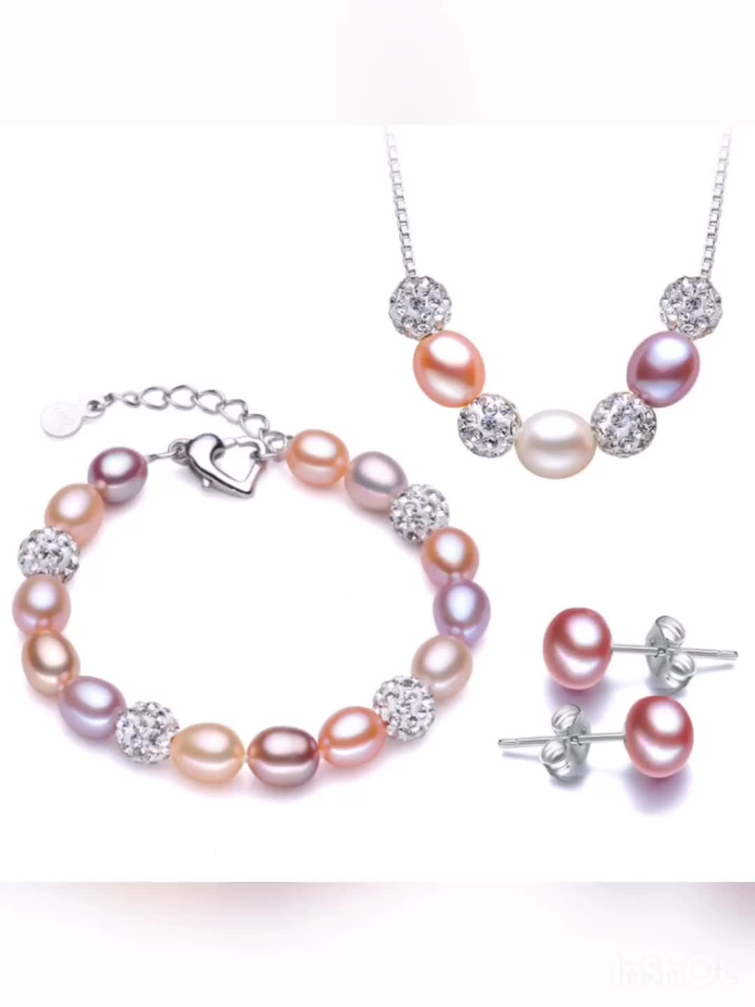 7-8mm real fresh water genuine cultured natural necklace and earring freshwater pearl jewelry set pearl