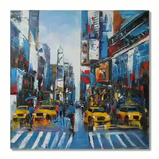 Modern Wall Art Painting Textured New York Street Scene Oil Painting Wall Decoration