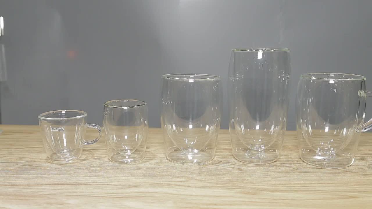 Großhandel Angepasst Spezielle Wärme Beständig Pyrex 300 ml Trinken Doppel Wand Tee Glas Tasse Mit Griff
