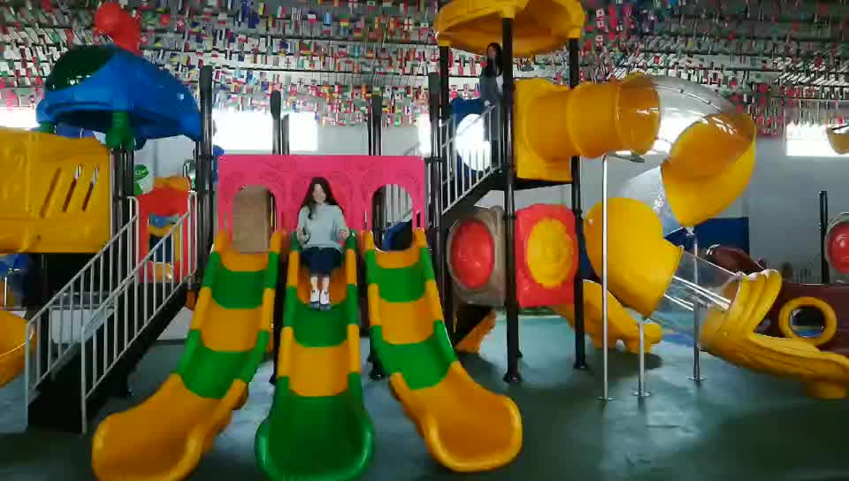 plastic playhouse with slides plastic preschool toys outdoor playground play equipment for amusement park HF-G033A