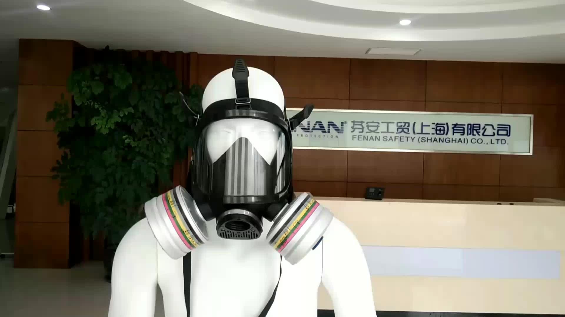 EN136 Química Padrão Cara Cheia Máscara De Gás Militar com Um Único Filtro De Carvão Ativado