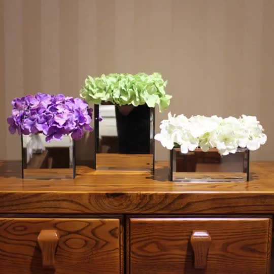 Good quality  glass square /rectangular mirror cube vase for home decoration and wedding mirrored table mariage vases