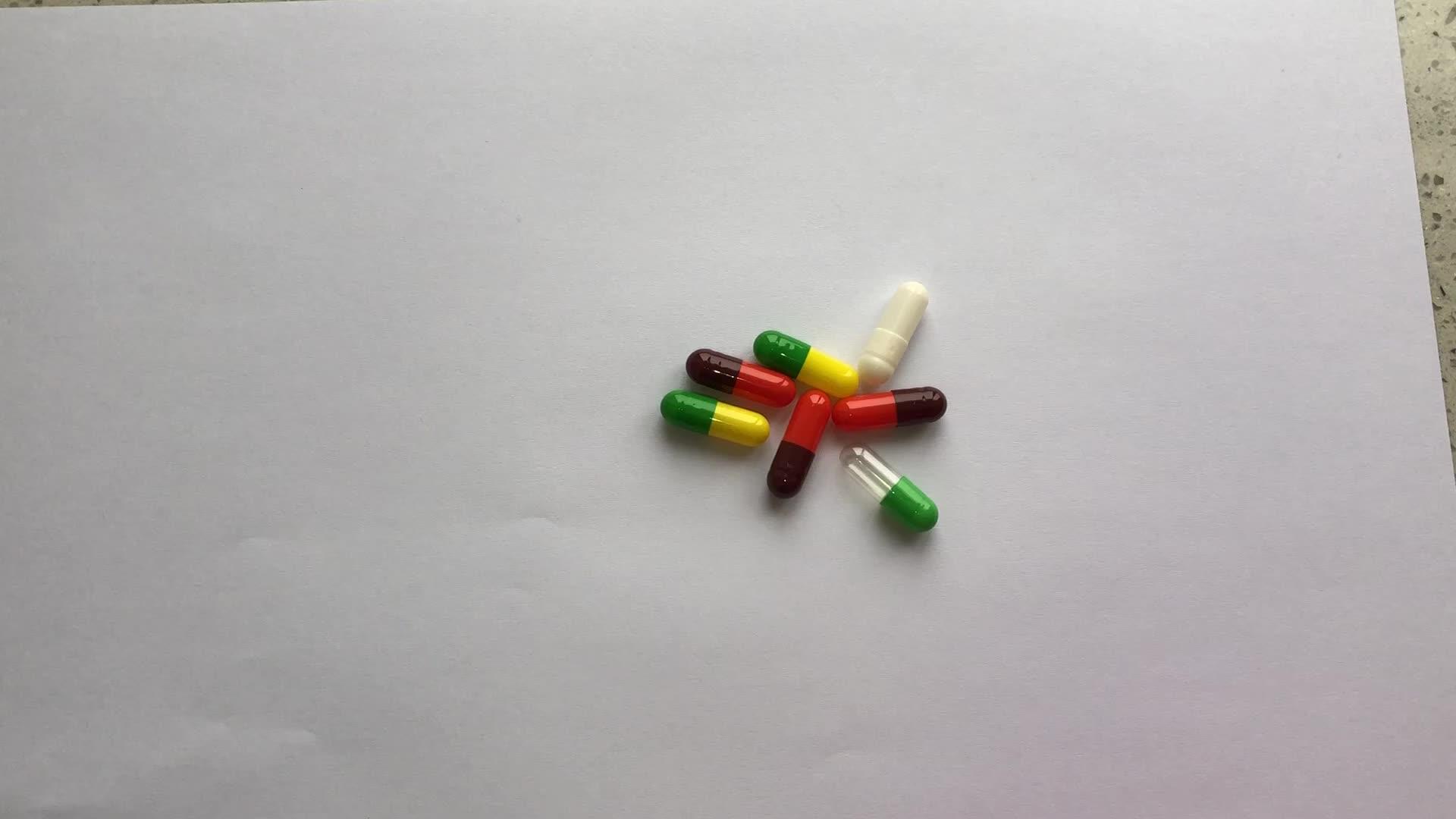 Cápsulas de gado de gelatina dura de cor vazia