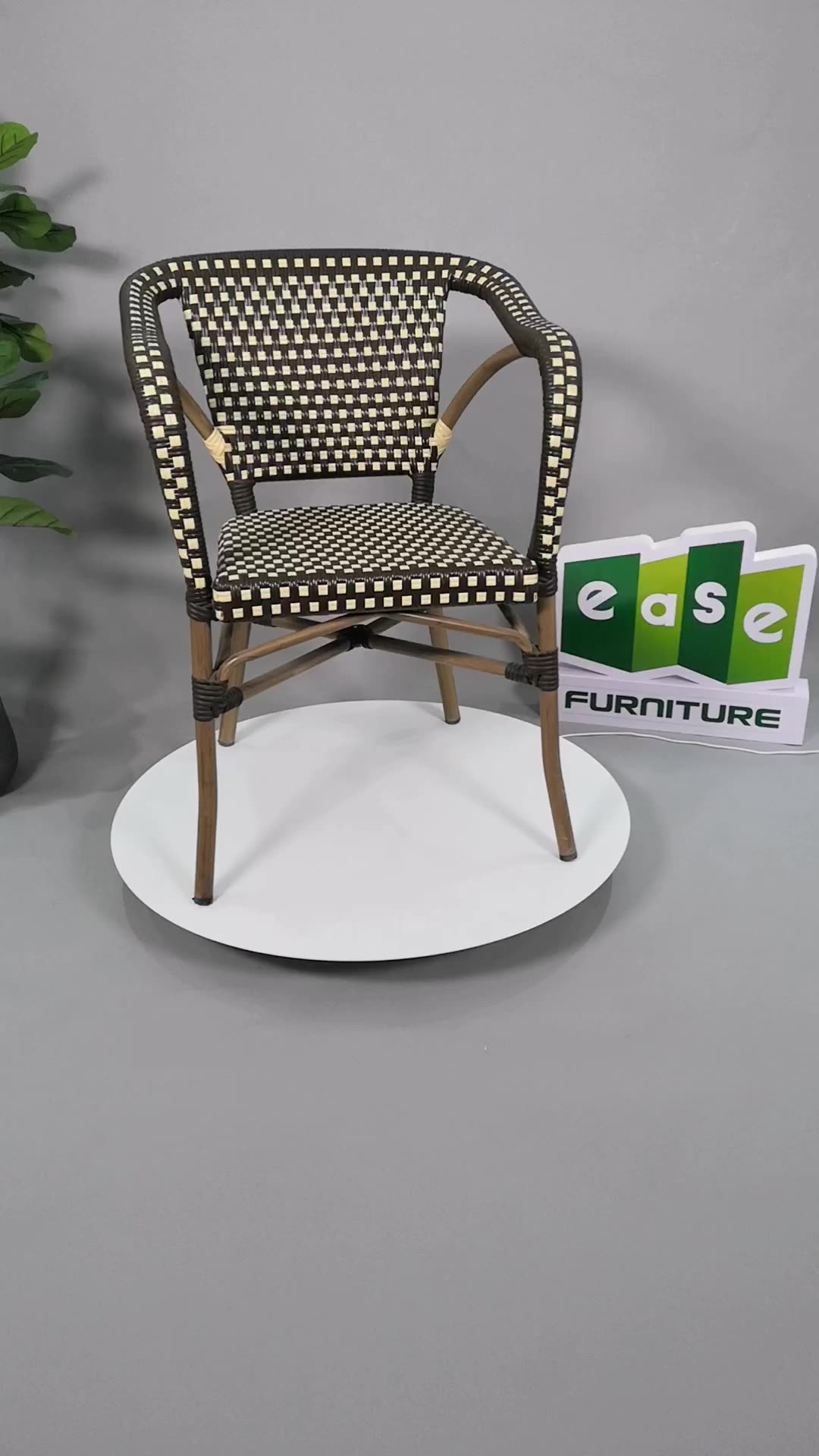 Estilo francés Silla de café y de ratán de mesas de Metal de mimbre de silla de comedor de muebles al aire libre Bistro francés sillas