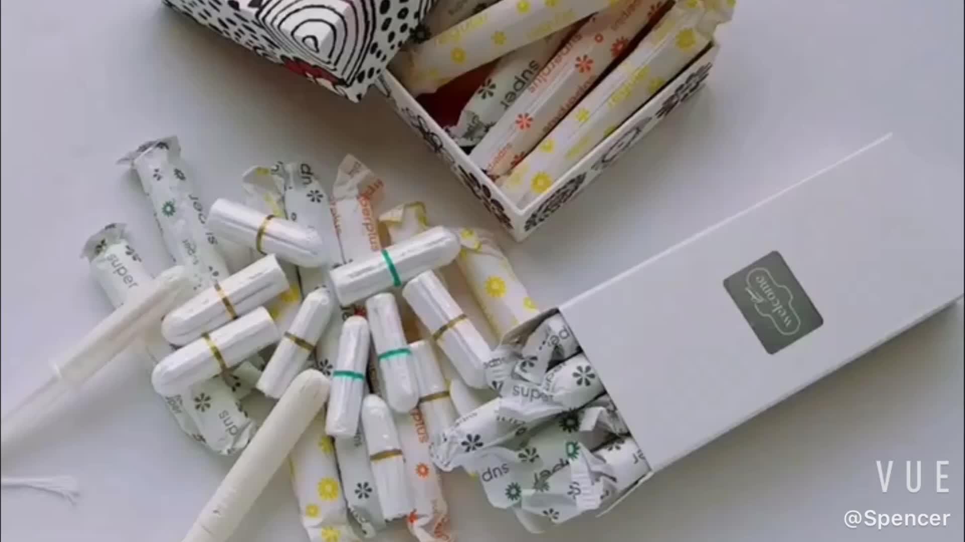 2019 la migliore vendita 100 per cento cotone organico cartone tamponi vaginali privato