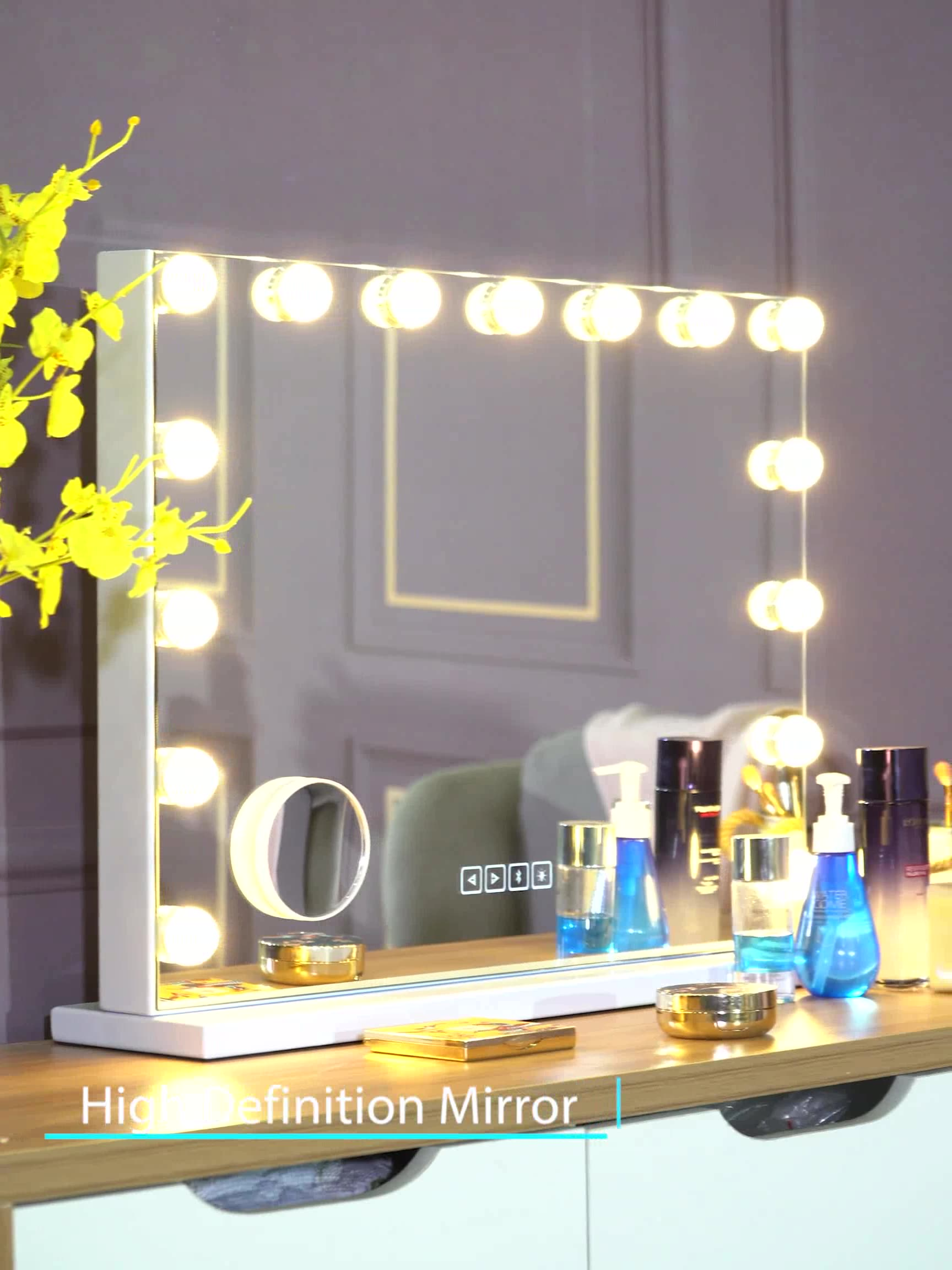 hansong Wall Mounted Vanity LED 15 Bulb Mirror Light Kit for Makeup Hollywood Mirror with Light Stage