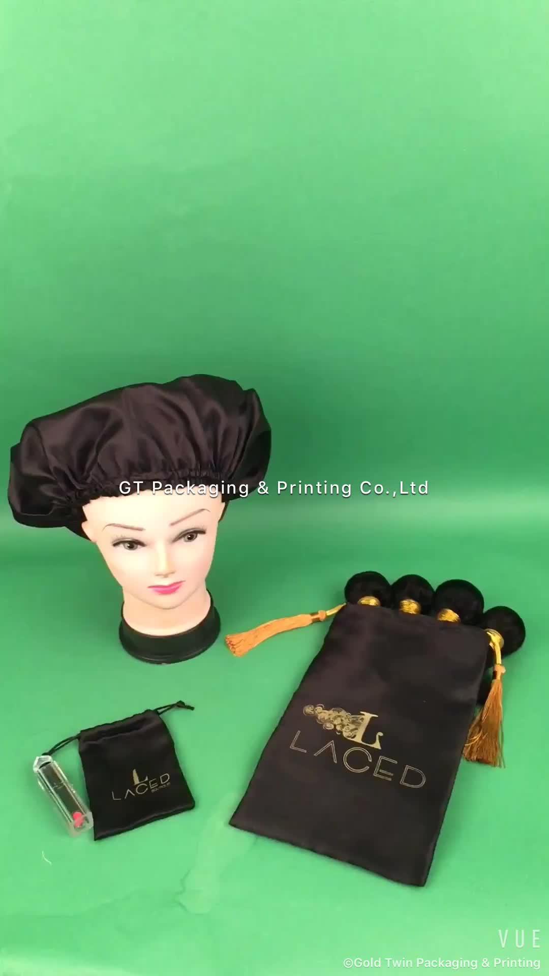 Özel insan bakire saç ekleme demeti peruk wrap etiketleri ambalaj ambalaj saten çanta lüks püskül, yuvarlak uyku bonnet