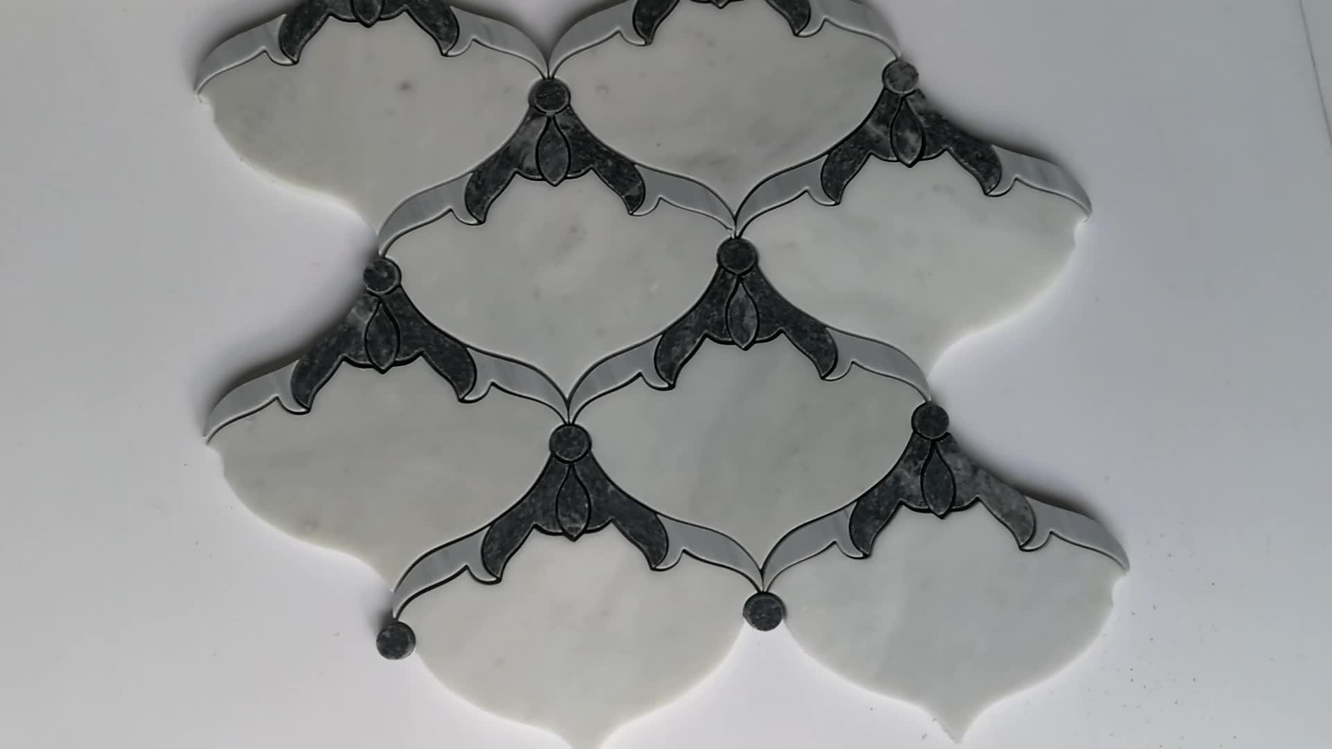 Carrara White With Black Flower WaterJet Mosaic Tile