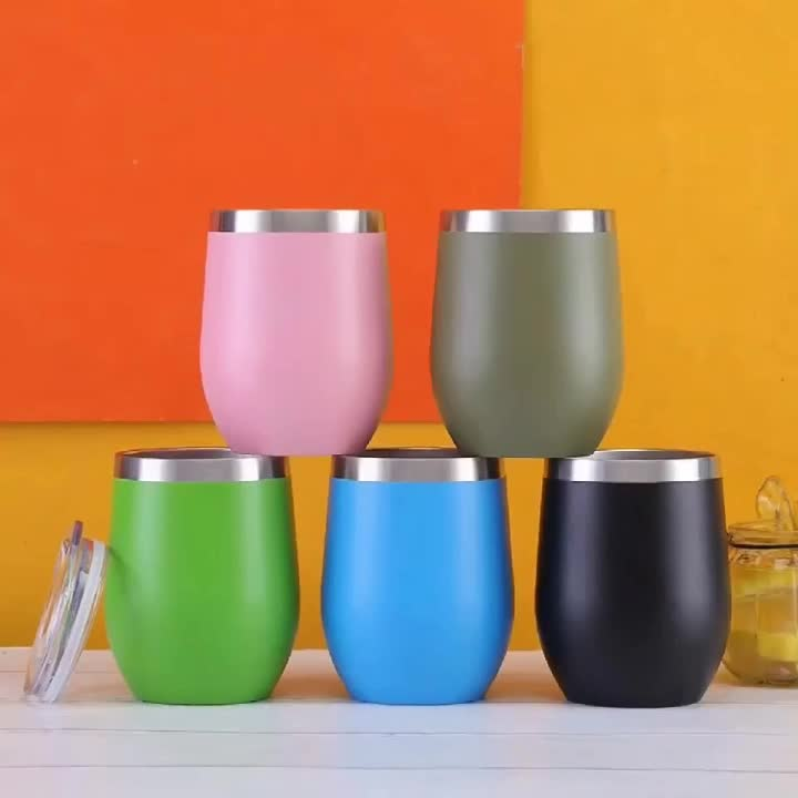 12oz Tumbler  Insulated Stainless Steel Tumbler Champagne Coffee Egg Mug with Lid and Straw