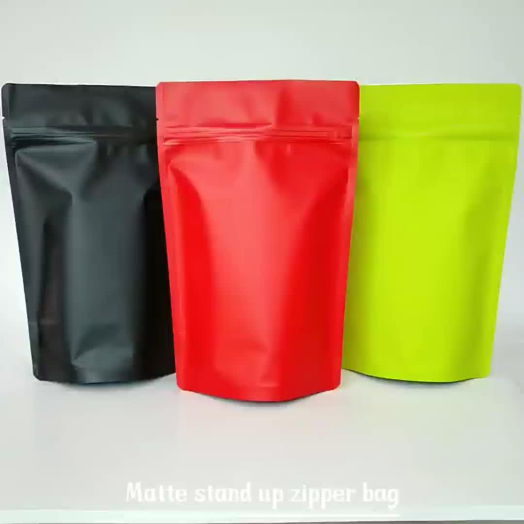 Stand up aluminium mat sac à fermeture à glissière avec déchirement encoche