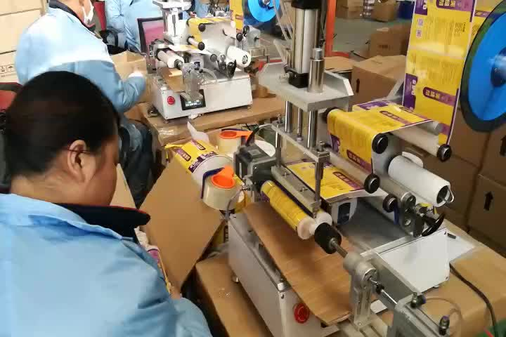 flat plastic bottle 360 rotating roll label applicator/sticker labeling machine with coding printer