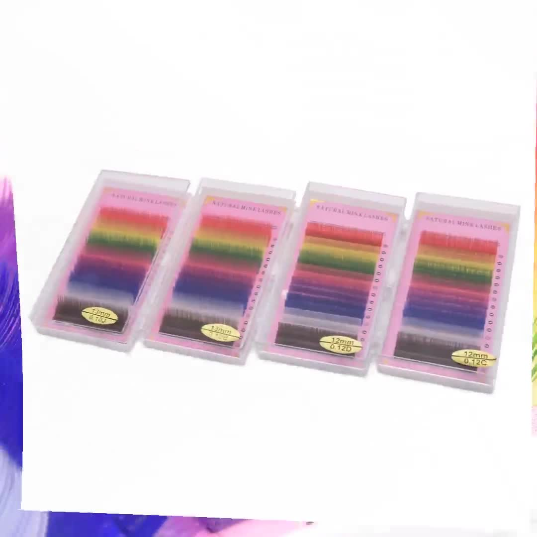 Wholesale 16Rows natural rainbow colored faux mink eyelash extensions individual synthetic lashes