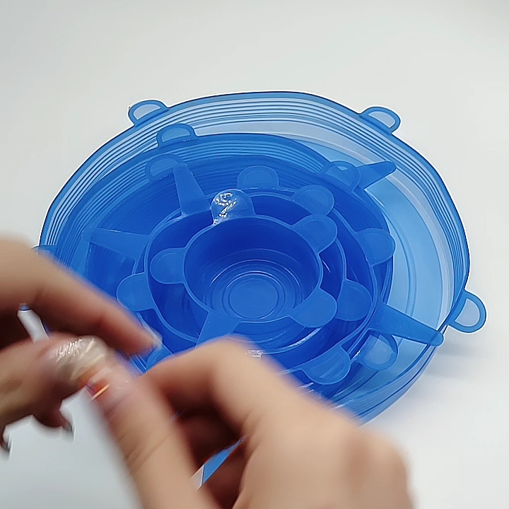 Multifunctional 6 pack silicon food lid set bowl cover with various sizes,Food saving silicone stretch storage lids organizer