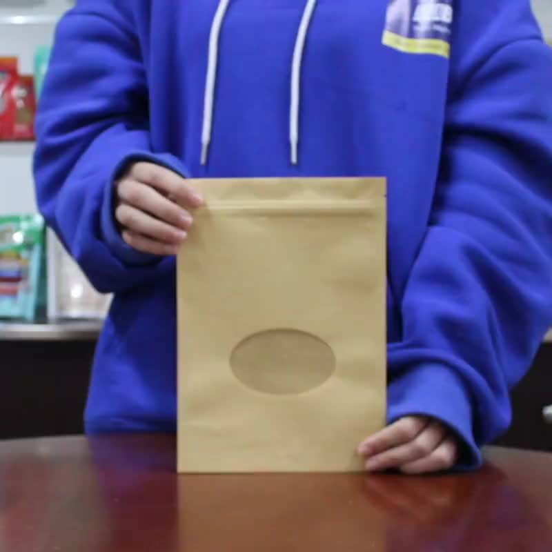 Resealable Brown Kraft Paper Standing Up Pouches Zipper Bags With Oval Round Window