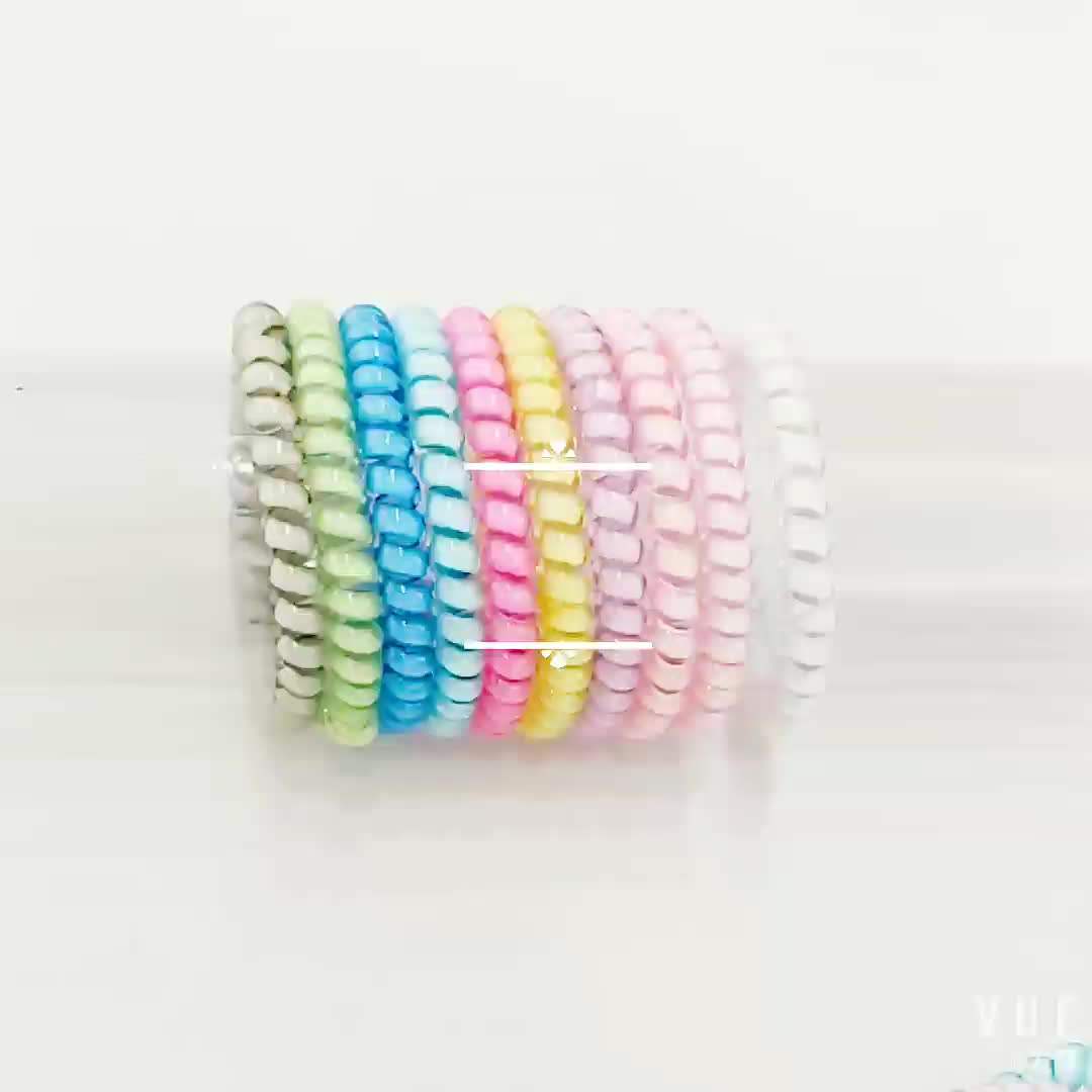 High quality Spiral Hair Band elastic Bracelet Ponytail Holders Traceless Plastic Hair ring And Hair Ties