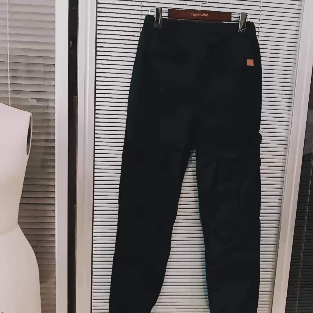 Takım Çok cep Gevşek Orta bel pantolon Dokuma kumaş erkek rahat spor pantolon